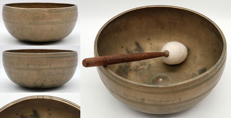 Superior Rare 18th Century Lingam Singing Bowl – Perfect Pitch G#3 & 2 Inscriptions!