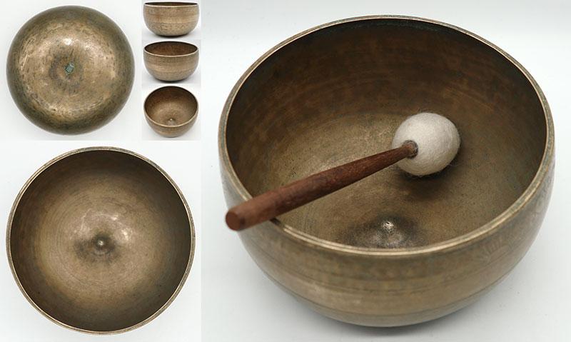 Unique Sunrise & Lotus Antique Lingam Singing Bowl – Perfect Pitch F3 & Inscription