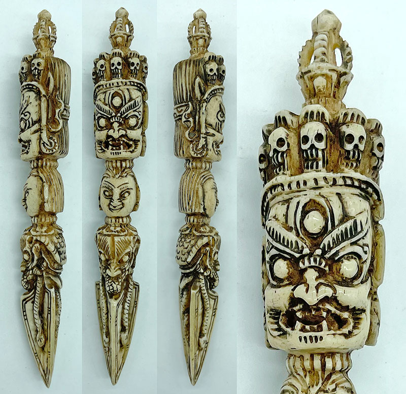 Tiny Carved Bone Shaman Phurba From Bhutan