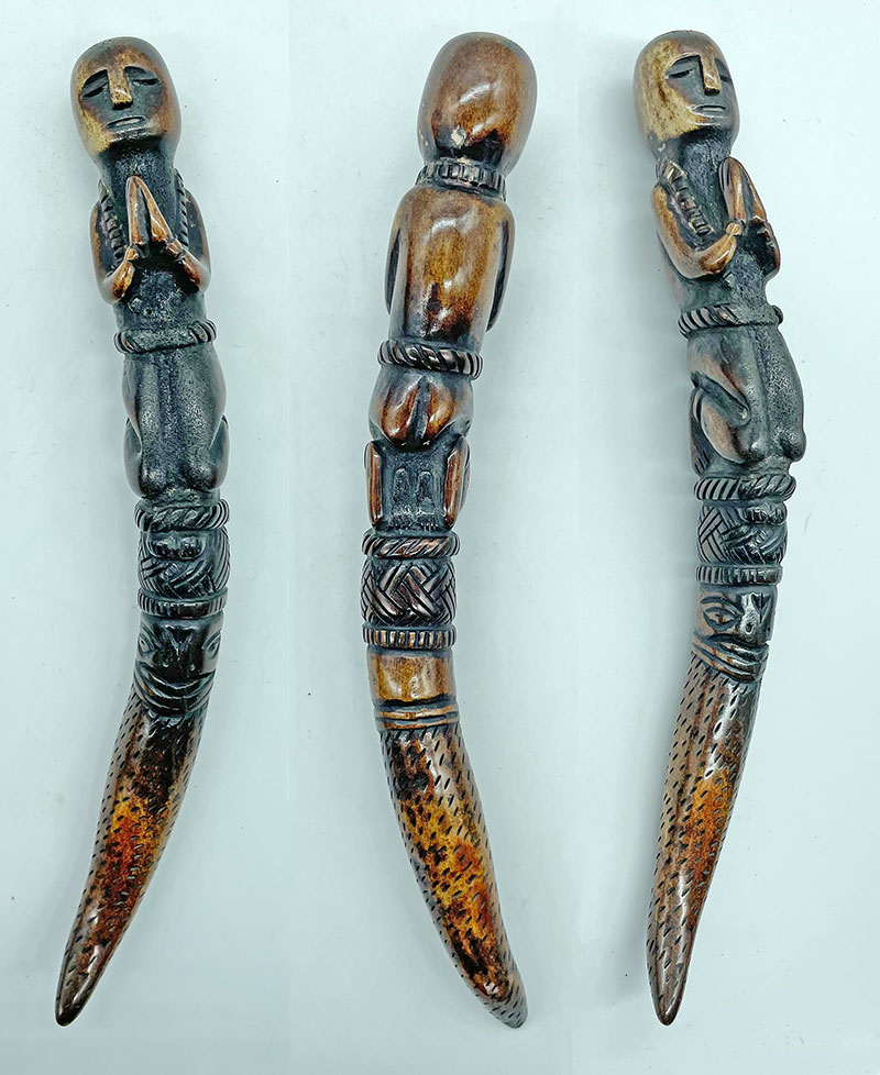Small Carved Horn Shaman Phurba From Nepal