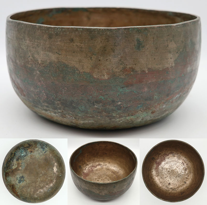 Exceptionally Large Antique Thadobati Singing Bowl - Perfect Pitch D3 & Inscription