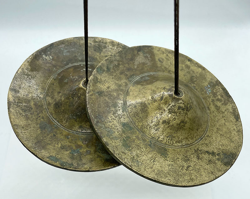 Rare Large Set of Antique Bronze Tibetan Tingsha – F6 (1418Hz)