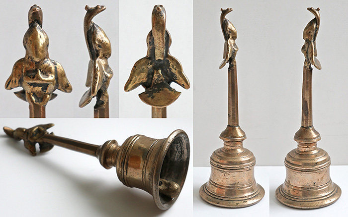 Antique Bronze Temple Handheld Bell – With Garuda and Cobra Top