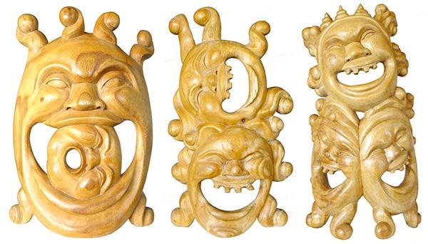Group of 3 Balinese Layak Carvings