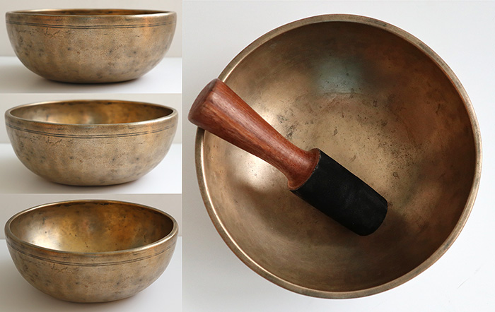 "Heavy Small/Medium-Size 8 ½"" Antique Jambati Singing Bowl – Bb3 (230Hz)"