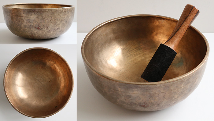 "Medium 9 ¼"" Antique Jambati Singing Bowl – C3 & F#4 – Inscription"