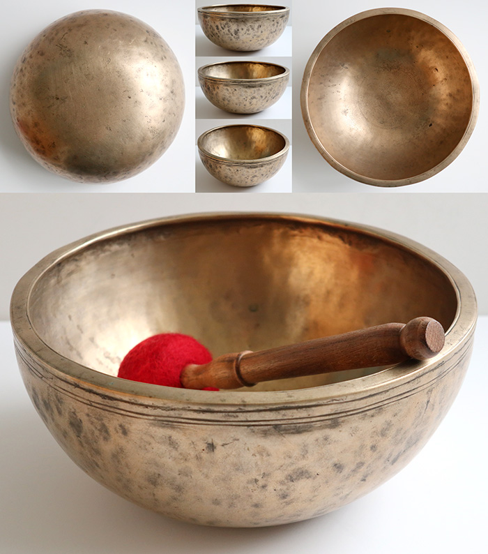 "Superb Medium 9 ¾ "" Antique B3 Jambati Singing Bowl – 2 Glorious Voices!"
