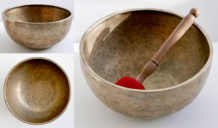 "Exquisite Medium 9 ¼"" Antique Jambati Singing Bowl – F3 (173Hz)"