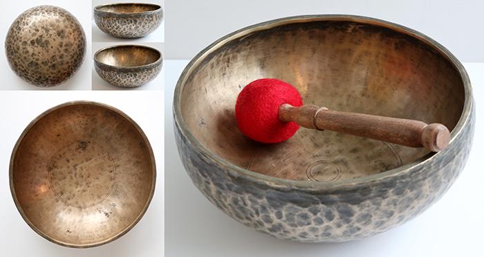 """Distinctive Medium 9 ½ """" Antique Jambati Singing Bowl – G#3 (206/7Hz)"""
