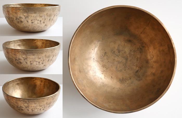 """Heavy Medium 9 ¾ """" Antique Jambati Singing Bowl – D3 & G#5"""