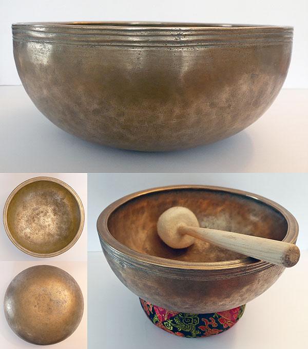 """Rare Antique 10"""" Jambati Singing Bowl – D4 (291Hz)"""