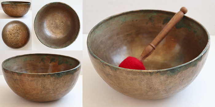 "Heavy 10 ¾ "" Antique Jambati Singing Bowl – Rare Low & Lovely A2 (112Hz)"