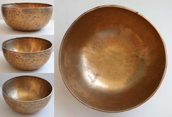 "Golden 10 ½"" Antique Jambati Singing Bowl – 2 Perfect Pitch Voices"