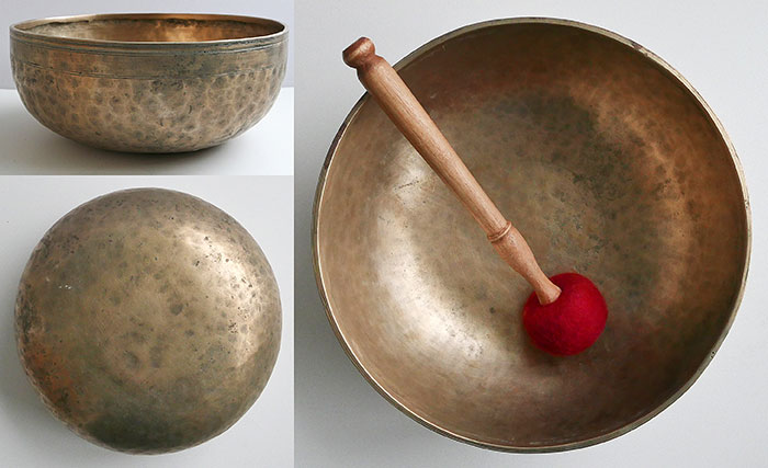 "Large 11 ½"" Antique Jambati Singing Bowl – Superb F2 & B3"