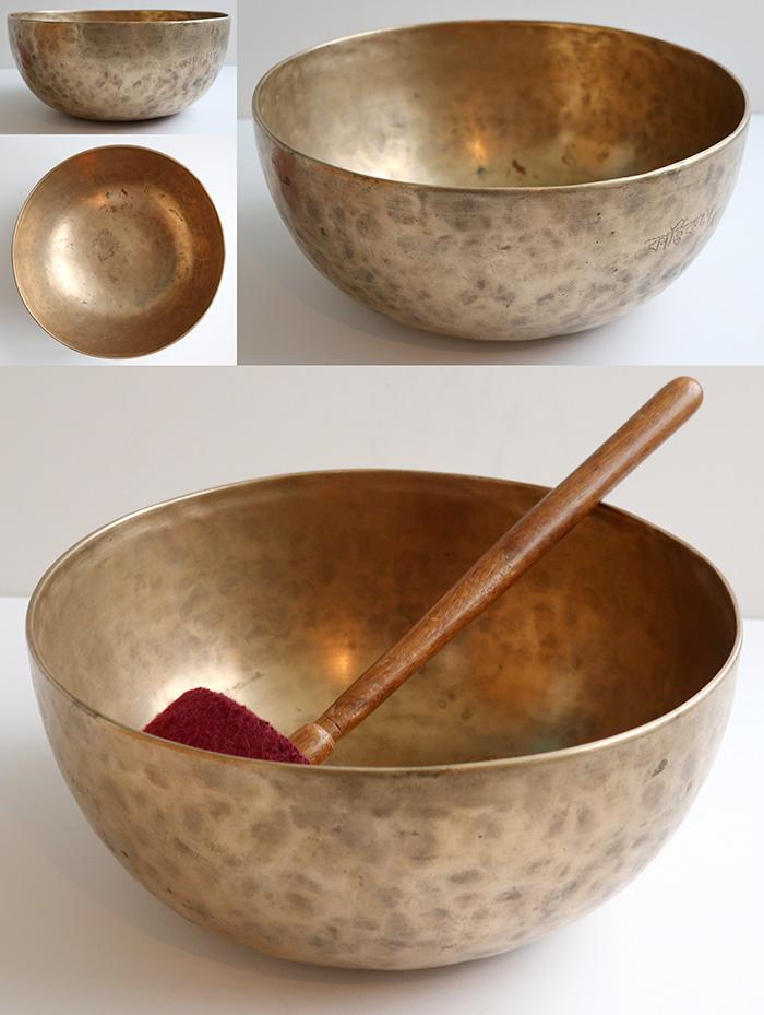 "Large 11 ½"" Antique Jambati Singing Bowl – Pulsating Eb2 & Lovely A3 - Inscription"