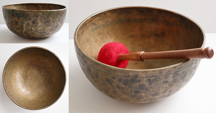 "Large 10 ¾"" Antique Jambati Singing  Bowl – Concert Pitch G#2 (103Hz)"