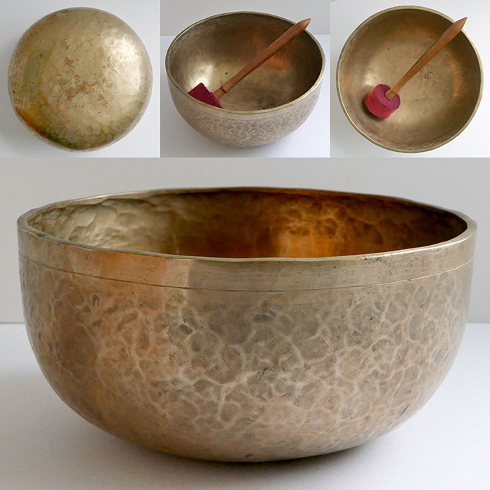"Large Golden 10 ¾"" Antique Jambati Singing Bowl – Perfect Pitch G#2 (104Hz)"