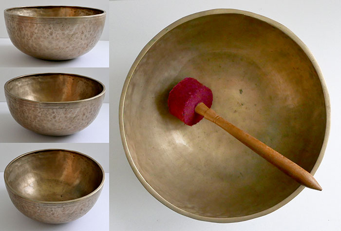 "Fabulous Large 11 ½"" Antique Jambati Singing Bowl – Perfect Pitch G#2 (104Hz)"