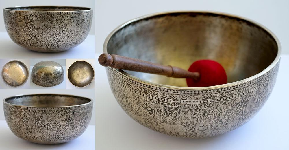 "Glorious 11 ¾"" Engraved Ceremonial Jambati Bowl from Bangladesh – Incredible Voice!"