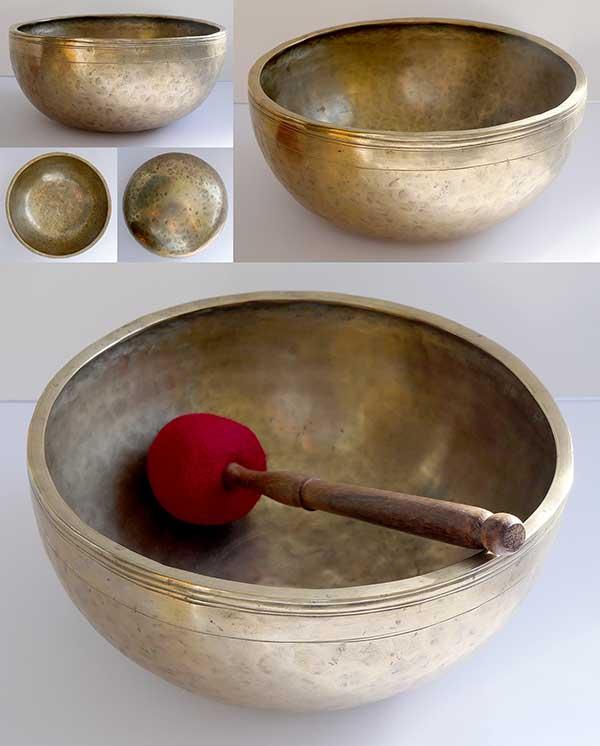 """Fabulous Heavy & Large 11 ½"""" Antique Jambati Singing Bowl – Eb3 (157Hz)"""
