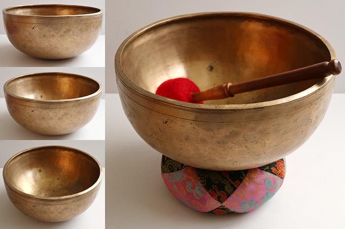 "Large Premium Quality 11 ¾ ""Antique Jambati Singing Bowl – Lovely C#3 (136Hz)"