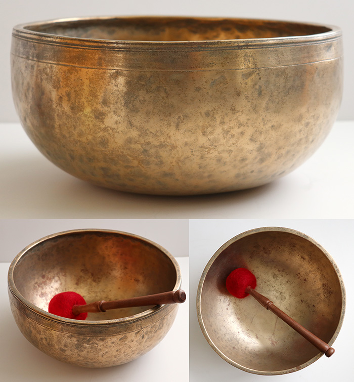 "Heavy Large 11 ½"" Antique Jambati Singing Bowl – Rare Form & Superb D3 (149Hz)"
