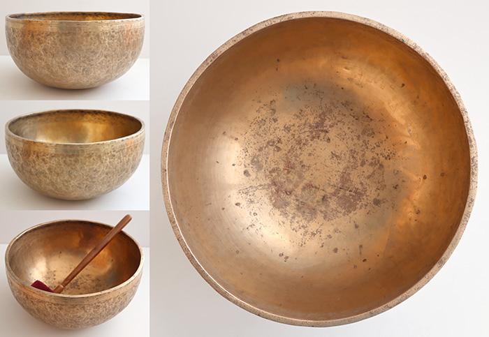 "Large Deep-Bodied 12 ¼"" Antique Jambati Singing Bowl – Excellent Low G#2"