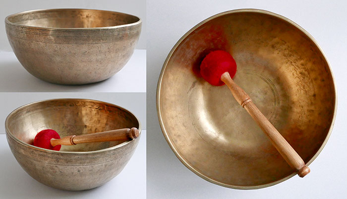 "Heavy 11 ½"" Antique Jambati Singing Bowl – 2 Fabulous Perfect Pitch Voices!"
