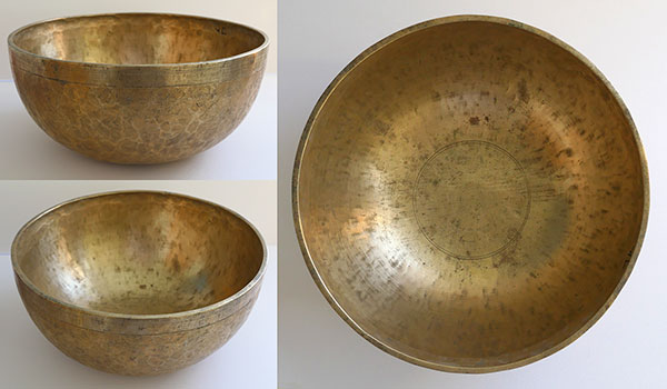 "Huge 12 ½"" Antique Jambati Singing Bowl - D#/Eb2 & Perfect Pitch Bb3 Harmonic"