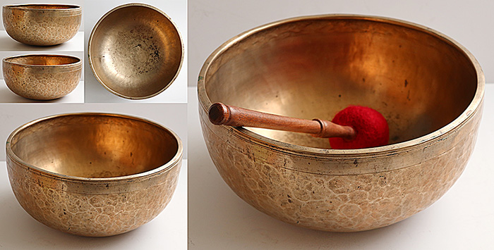 "Superb Large 12 ¼ ""Antique Jambati Singing Bowl – B2 & F#4"