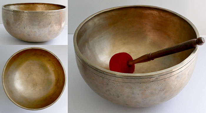 "Majestic 12 ½"" Antique Jambati Temple Singing Bowl – Close Concert Pitch G2 (99Hz)"