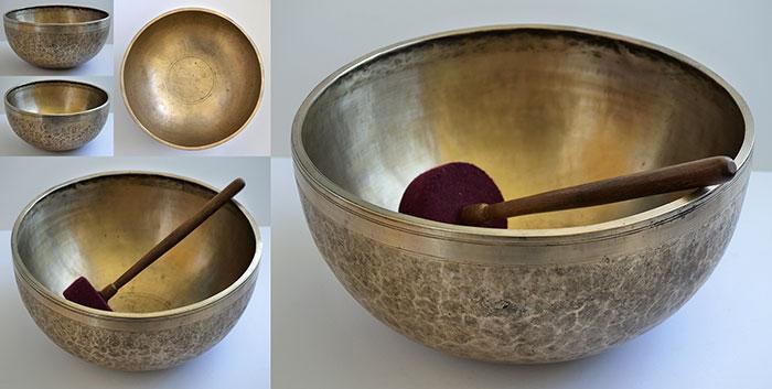 """Massive Majestic 14 ¼"""" Antique Ceremonial Temple Jambati Singing Bowl"""