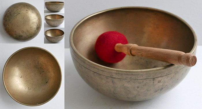 """Small Superior Quality 8"""" Antique Jambati Singing Bowl – E3/F3 & C5"""