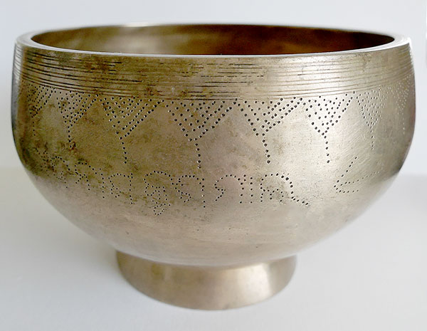 Antique Naga Singing Bowl E4 (323Hz) Multiple Inscriptio