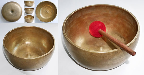 Rare Mustard Gold C4 Antique Lingam Singing Bowl - Inscriptions