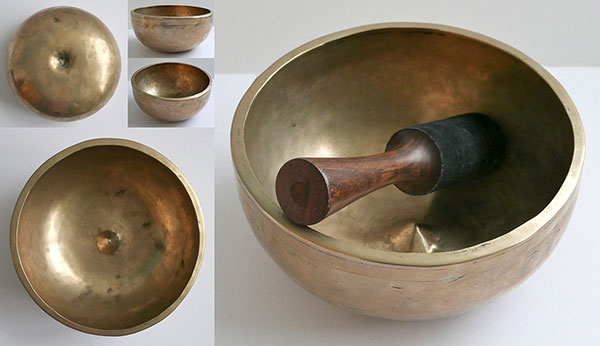 "Superlative Rare 9"" Golden Antique Lingam Singing Bowl – B3 & F5"