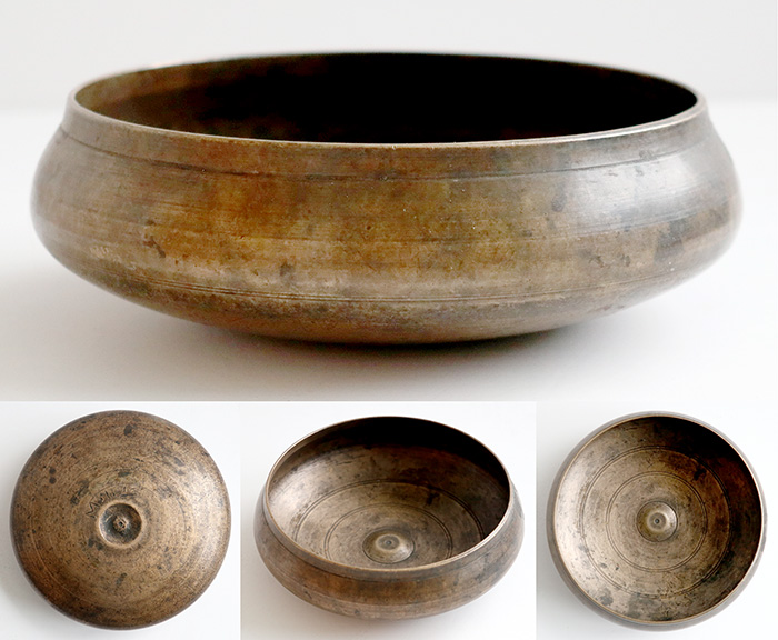 Rare Unique Antique Lingam Singing Bowl – G#4 & C#6 - Inscription