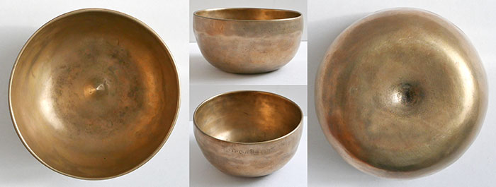 Small Antique Lingam Singing Bowl – E4 & Bb5 - Inscription