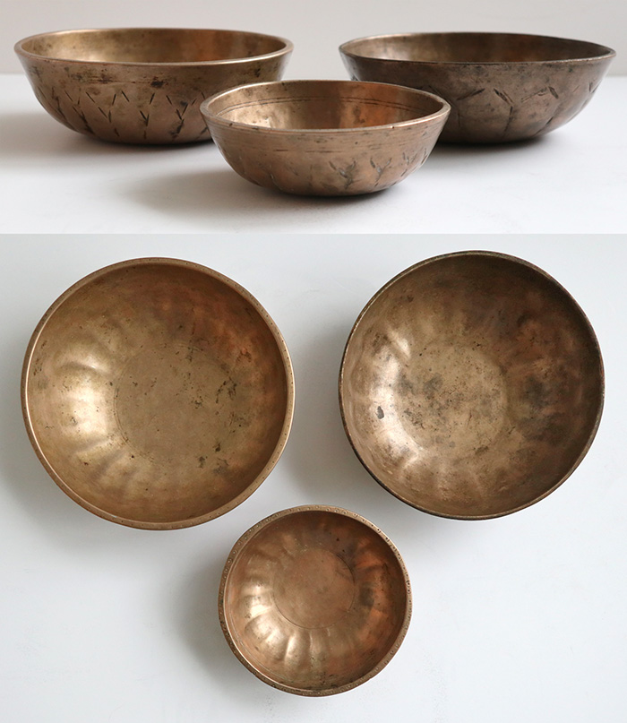 A Rare Set of 3 Antique Manipuri Lotus Singing Bowls – A3, D4 & C5
