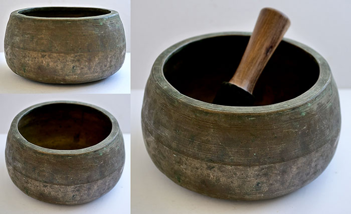 Fabulous Rare Large Eb5 Antique Mani Singing Bowl in 'As Found' Condition