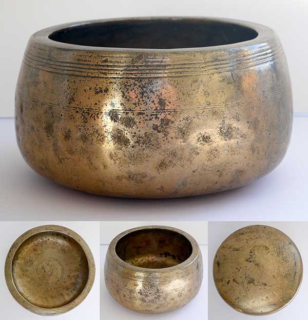 Exceptionally Large and Heavy Antique Mani Singing Bowl – F#5 (717Hz)