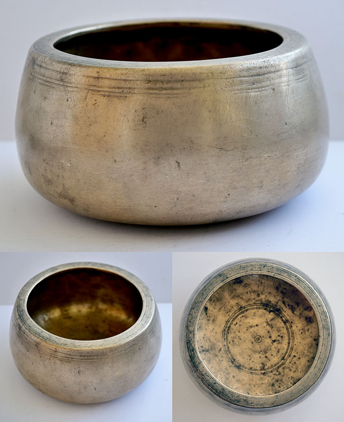Fabulous Rare Large and Heavy Antique Mani Singing Bowl – G#5 (827Hz)