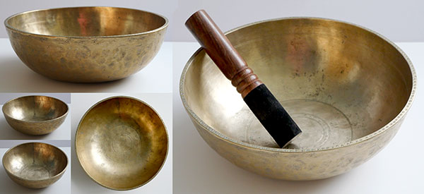 Interesting Rare Large Antique Manipuri Singing Bowl – F4 & Bb2 Fountains & Suns