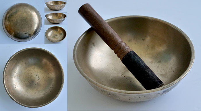 Interesting Small Antique Manipuri Singing Bowl – D4 & G#5