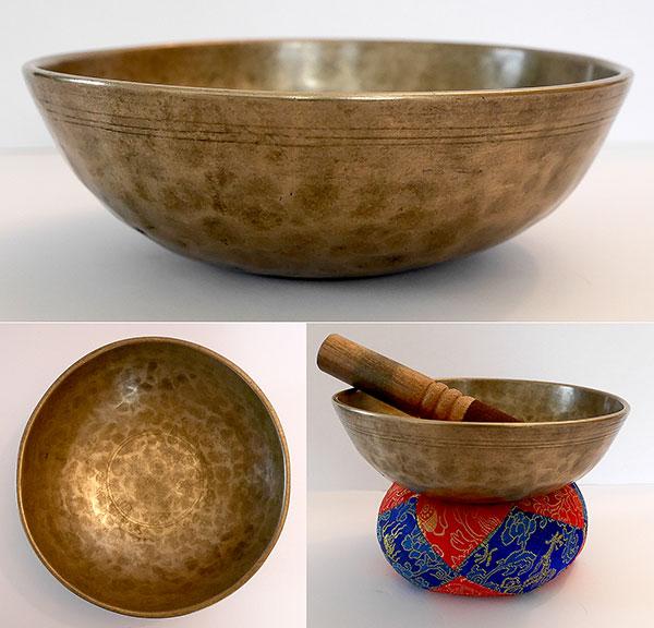 Medium Antique Manipuri Singing Bowl – G#3 (204Hz)