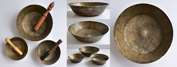 Extremely Rare 17th Century Mounded Set of 3 Ceremonial Singing Bowls