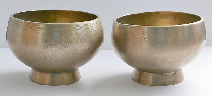 Two Superb Large Inscribed Antique Naga Singing and Healing Bowls – Half Price!
