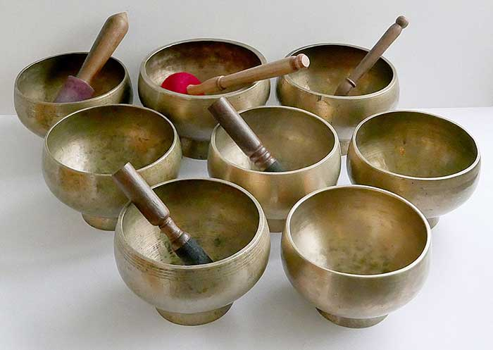 Superb Rare SET OF 8 LARGE Antique Naga Singing and Healing Bowls – 6 Inscribed