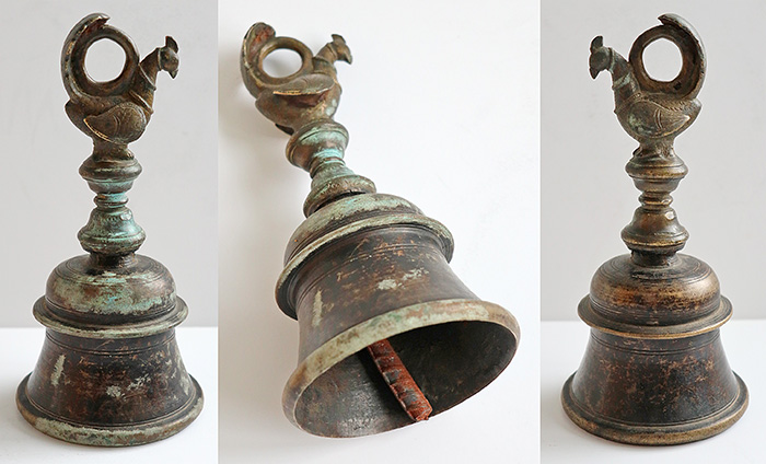 Antique Bronze Hand Held Temple Bell with Peacock Top