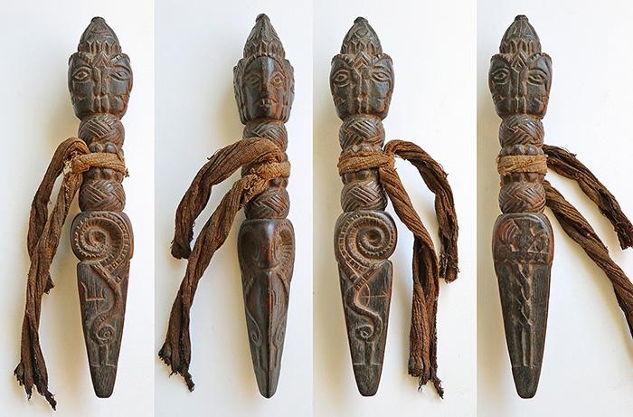 Rare Carved Antique Shaman Crown Phurba – Superb Elephant Makara